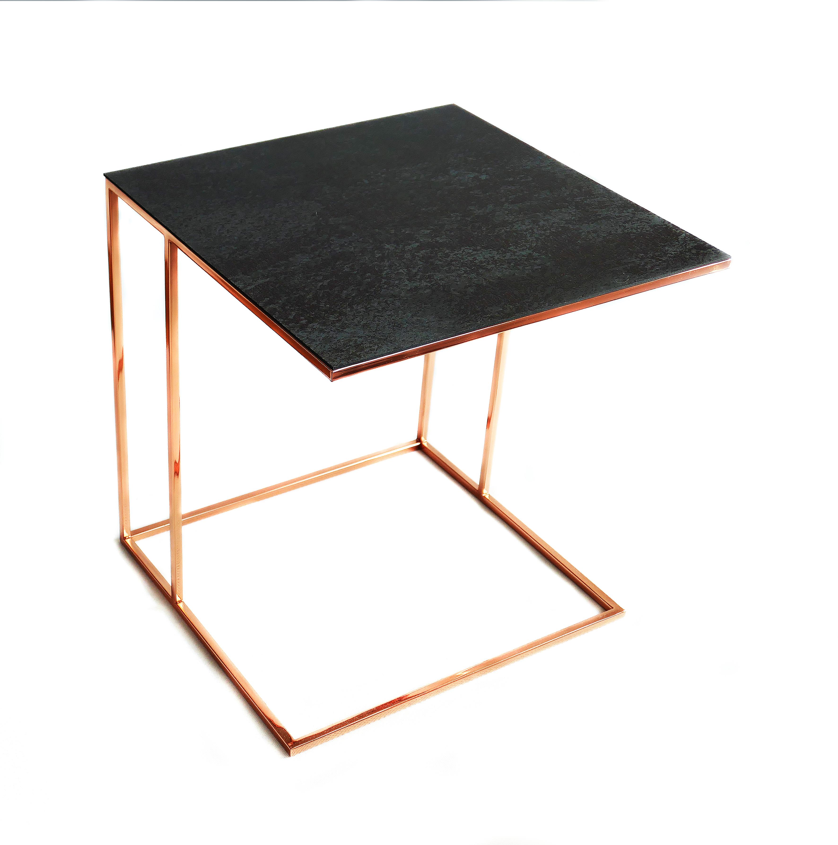 Stolik nadstawka REA furniture MURANO – rama RAME/ blat Laminam OXIDE NERO – wymiary 50/50/53