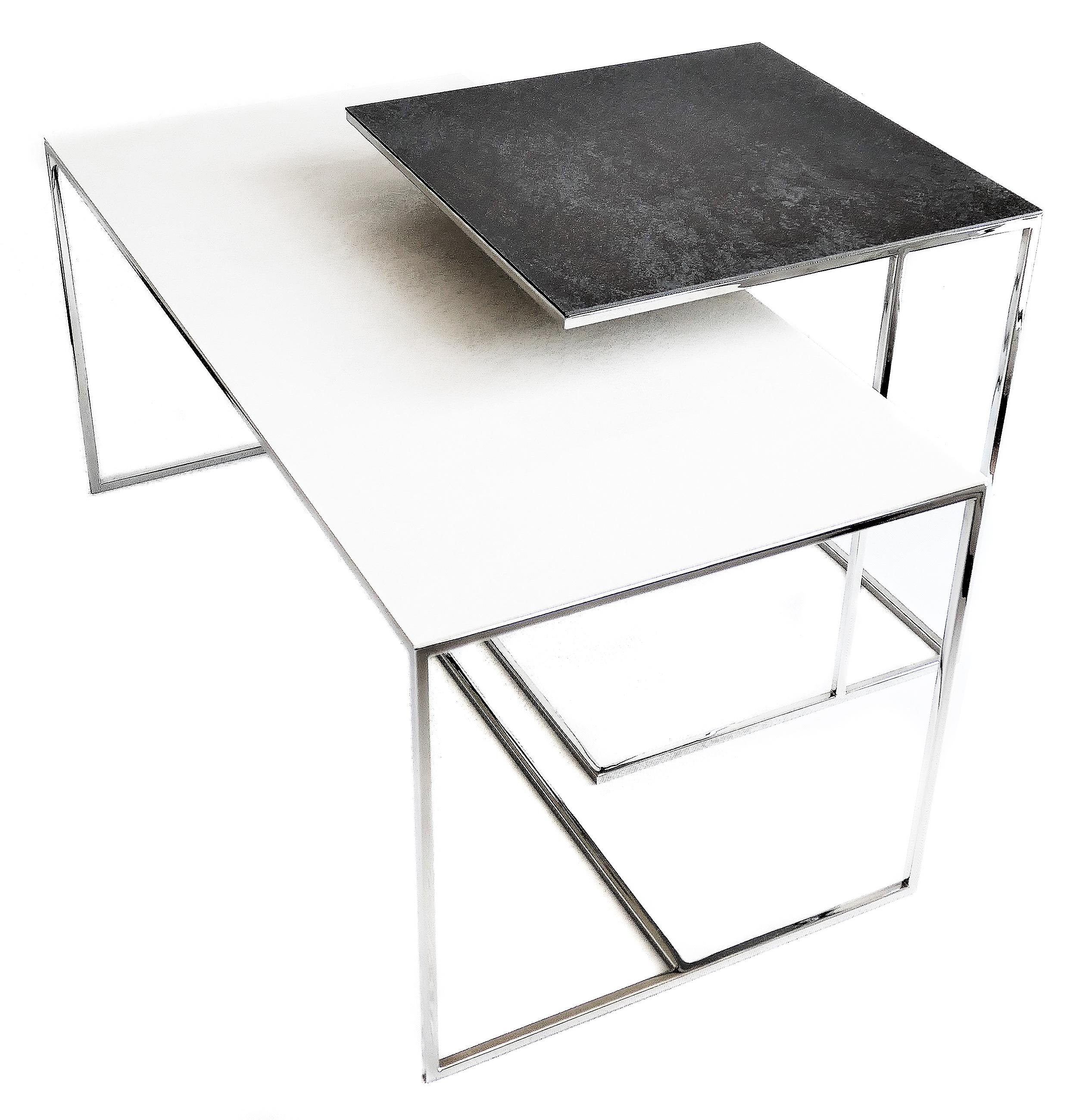 REA furniture LINOSA – rama CHROME/ blat Laminam OXIDE BIANCO – wymiary 50/50/53 + VULCANO – rama CHROME/ blat Laminam OXIDE NERO – wymiary 100/50/45