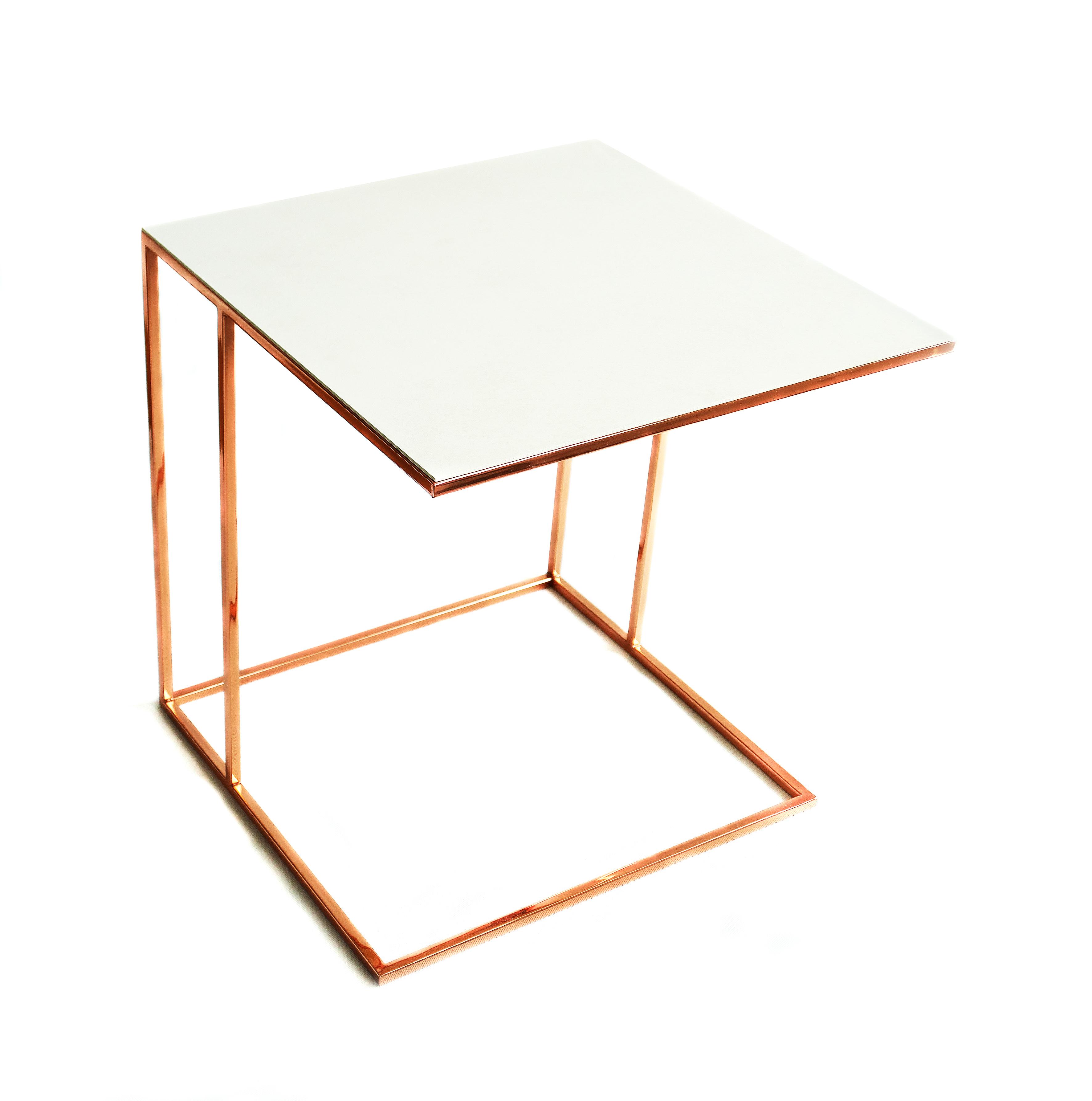 Stolik nadstawka REA furniture ALICUDI – rama RAME/ blat Laminam OXIDE BIANCO – wymiary 50/50/53