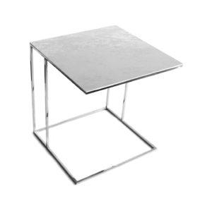 Stolik nadstawka REA furniture LIPARI – blat spiek kwarcowy Laminam OXIDE PERLA - wymiary 50/50/53