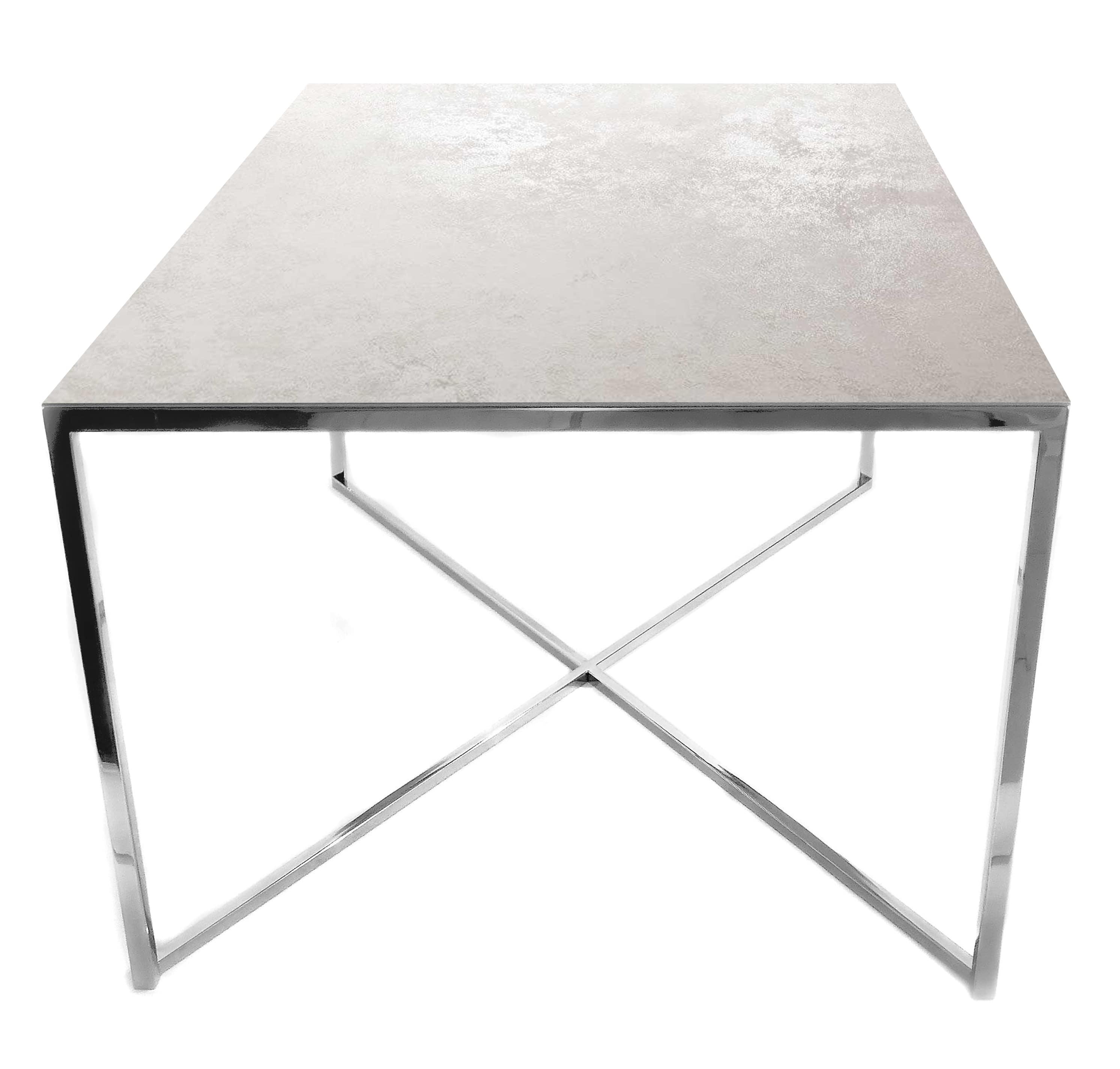 Stolik kawowy ława REA furniture MILANO – blat Laminam oxide bianco – wymiary 100/100/50