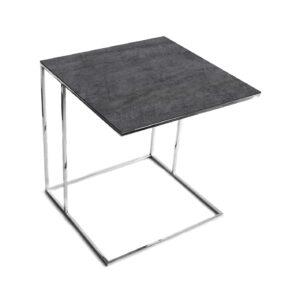 Stolik nadstawka REA furniture LIPARI – blat spiek kwarcowy Laminam naturali pietra di savoia antracite - wymiary 50/50/53