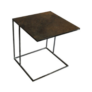 Stolik nadstawka REA furniture LIPARI – blat spiek kwarcowy Laminam ossido bruno - wymiary 50/50/53