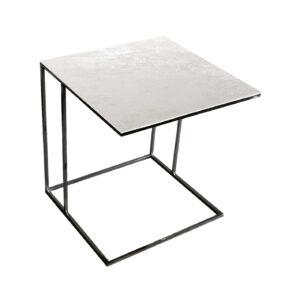 Stolik nadstawka REA furniture LIPARI – blat spiek kwarcowy Laminam oxide bianco - wymiary 50/50/53