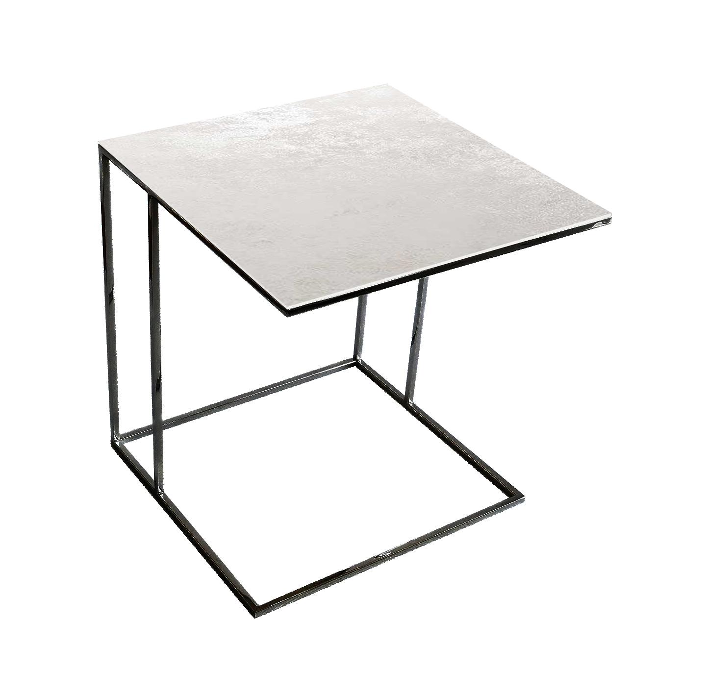 Stolik nadstawka REA furniture LIPARI – blat spiek kwarcowy Laminam oxide bianco – wymiary 50/50/53