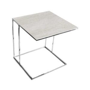 Stolik nadstawka REA furniture LIPARI – blat spiek kwarcowy Laminam naturali pietra di savoia perla - wymiary 50/50/53