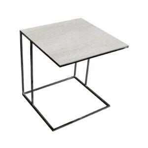 Stolik nadstawka REA furniture LIPARI – blat spiek kwarcowy Laminam naturali pieta di savoia perla - wymiary 50/50/53