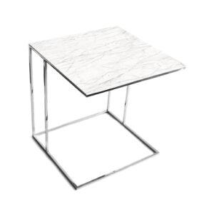 Stolik nadstawka REA furniture LIPARI – blat spiek kwarcowy Laminam naturali statuarietto - wymiary 50/50/53