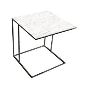 Stolik nadstawka REA furniture LIPARI – blat spiek kwarcowy Laminam naturali statuaritto - wymiary 50/50/53