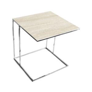 Stolik nadstawka REA furniture LIPARI – blat spiek kwarcowy Laminam naturali travertino navona - wymiary 50/50/53
