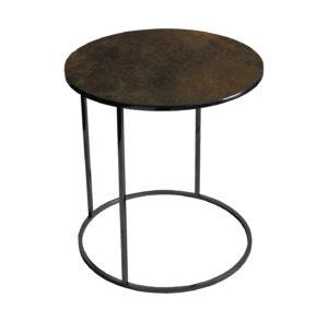 Stolik kawowy okrągły nadstawka REA furniture GAVI – blat Laminam ossido bruno - wymiary FI 50 x W 53 cm