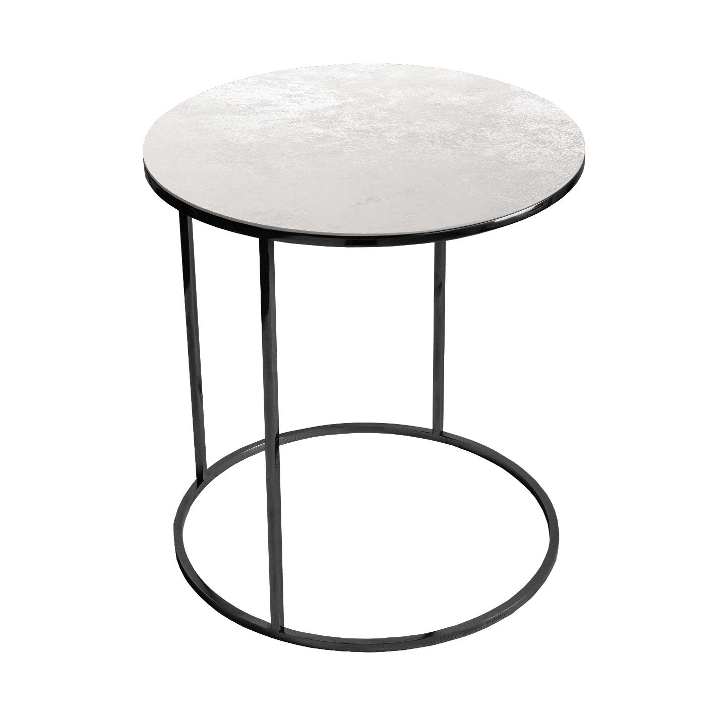 Stolik kawowy okrągły nadstawka REA furniture GAVI – blat Laminam oxide bianco – wymiary FI 50 x W 53 cm