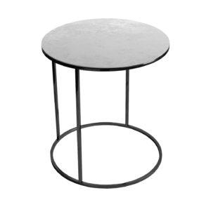 Stolik kawowy okrągły nadstawka REA furniture GAVI – blat Laminam oxide perla - wymiary FI 50 x W 53 cm