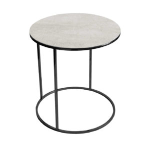 Stolik kawowy okrągły nadstawka REA furniture GAVI – blat Laminam naturali pietra di savoia perla - wymiary FI 50 x W 53 cm