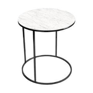 Stolik kawowy okrągły nadstawka REA furniture GAVI – blat Laminam naturali statuarietto - wymiary FI 50 x W 53 cm