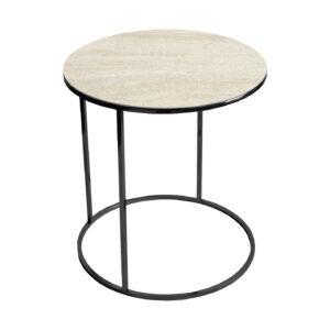 Stolik kawowy okrągły nadstawka REA furniture GAVI – blat Laminam Naturali travertino navona - wymiary FI 50 x W 53 cm